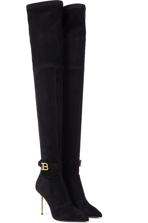 Balmain Raven stretch-suede over-the-knee boots