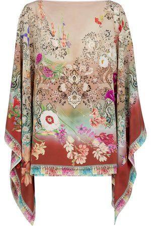 Etro Floral silk poncho