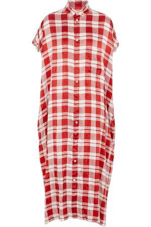 Balenciaga Checked silk shirt midi dress