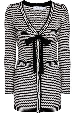 Self-Portrait Striped cotton-blend minidress