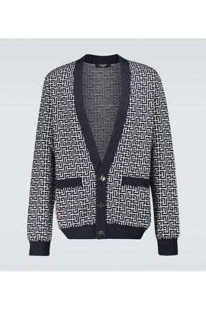 Balmain Monogrammed wool-blend cardigan