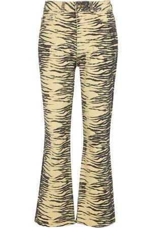 Ganni Tiger-print stretch-cotton flared jeans