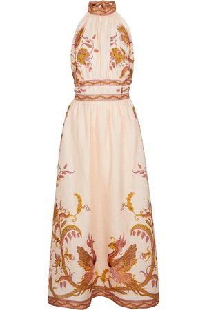 ZIMMERMANN Cassia halterneck floral linen midi dress