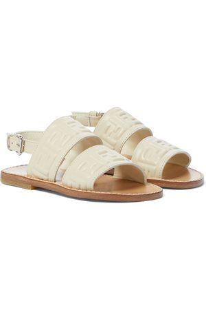 Fendi FF embossed leather sandals