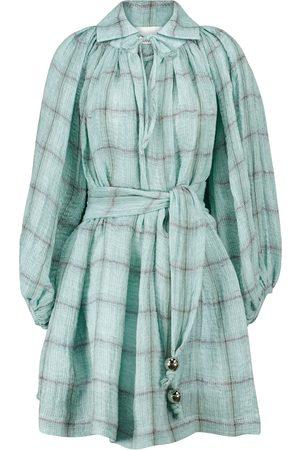Lisa Marie Fernandez Poet checked linen-blend minidress