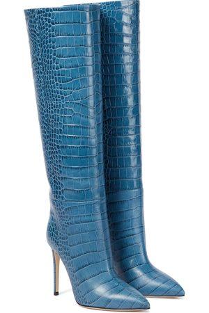 PARIS TEXAS Croc-effect leather knee-high boots