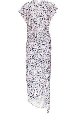 Paco rabanne Asymmetric floral midi dress