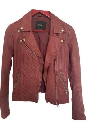 Maje Burgundy Leather Jackets
