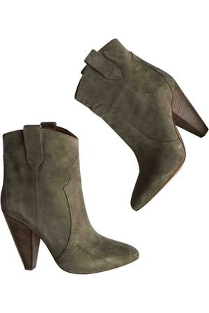 Isabel Marant Khaki Suede Ankle Boots