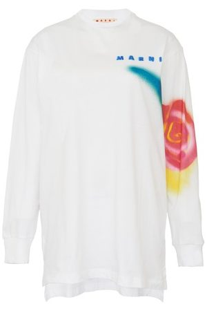 Marni Women Long Sleeve - Stencil Flower print cotton long-sleeved T-shirt