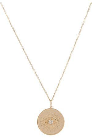 Sydney Evan Evil Eye Coin 14kt necklace with diamonds