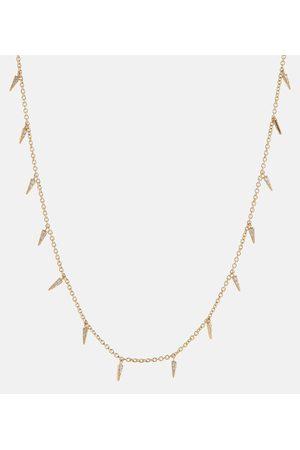 Sydney Evan Small Pavé Fringed 14kt necklace with diamonds