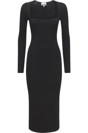 Ganni Women Knitted Dresses - Melange Knit Midi Dress