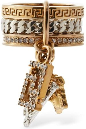 VERSACE Crystal Thick Ring W/ Charms