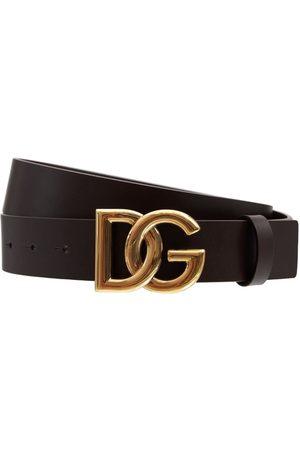 Dolce & Gabbana Men Belts - 3.5cm Leather Belt W/ New Dg Buckle