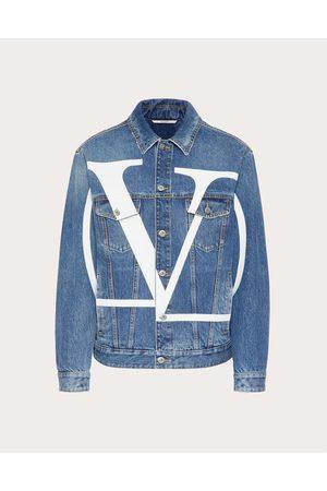 VALENTINO Men Denim Jackets - Denim Jacket With Vlogo Signature Print Man Dark 100% Cotton 46