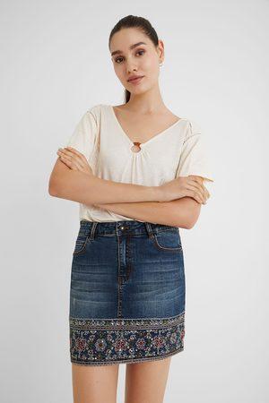 Desigual Embroidered denim mini-skirt
