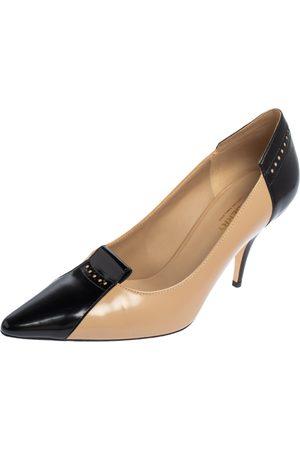 Burberry /Black Patent Leather Eldmon Brogue Detail Pumps Size 38.5