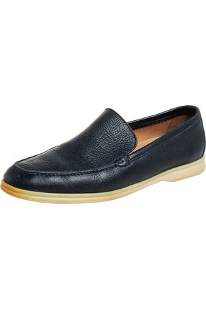 Loro Piana Men Loafers - Navy Leather Summer Walk Slip On Loafers Size 43.5