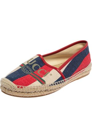 Gucci Canvas Sylvie Espadrille Flats Size 38.5