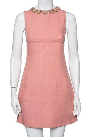 VALENTINO Linen Embellished Neck Detail Sleeveless Sheath Dress S