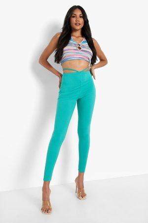 Boohoo Womens Pointed Waist Strappy Cut Out Ribbed Legging - - 2
