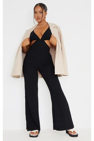 PRETTYLITTLETHING Linen Look Strappy Cut Out Jumpsuit