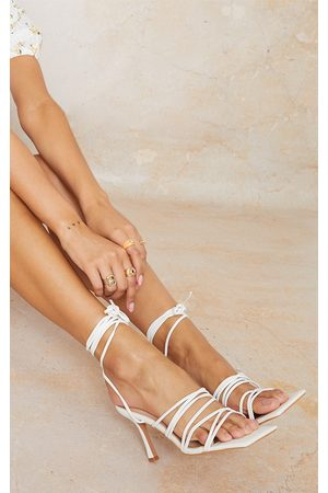 PRETTYLITTLETHING PU Extreme Strappy Square Toe Heeled Sandals