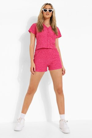 Boohoo Womens Ofcl Embossed Towelling Short - - 4