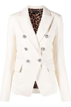 Philipp Plein Women Blazers - Double-breasted leather blazer - Neutrals