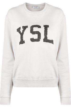 Saint Laurent Logo-print sweatshirt - Neutrals