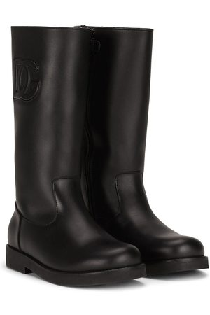 Dolce & Gabbana Logo embossed tall boots