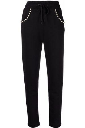 Love Moschino Women Sweatpants - Pearl-studded flake track pants