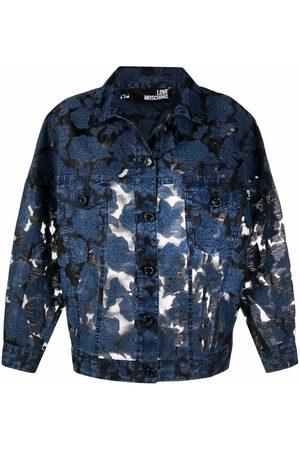 Love Moschino Women Denim Jackets - Rose-embroidered oversized denim jacket