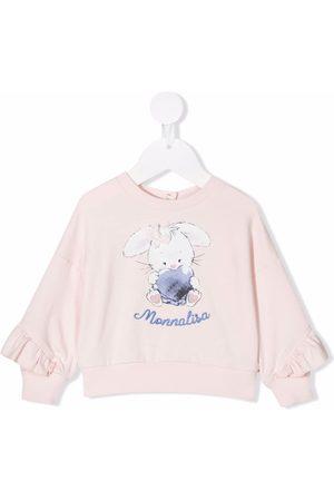 MONNALISA Hoodies - Logo-embroidered ruffle-sleeve sweatshirt