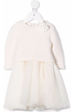 MONNALISA Baby Knitted Dresses - Panelled knitted dress - Neutrals