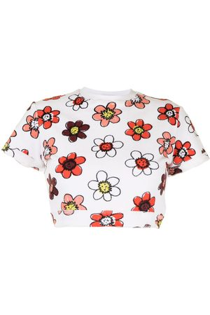 Miaou Floral-print cropped short-sleeved T-shirt