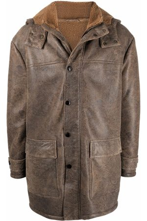Etro Men Coats - Paisley-pattern hooded leather coat