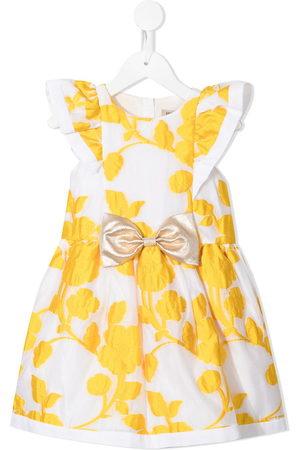 Hucklebones London Girls Printed Dresses - Floral-embroidered mini dress