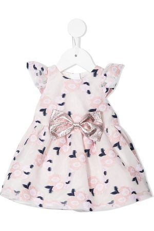 Hucklebones London Flutter Sleeve rose-embroidery Bodice Dress - Multicolour