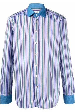Etro Men Shirts - Contrast collar striped shirt