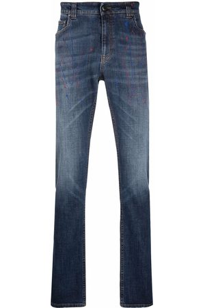 Etro Men Straight - Paint-splatter print jeans