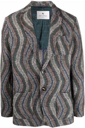 Etro Men Blazers - Wave-pattern knitted blazer