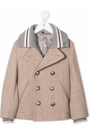 Brunello Cucinelli Boys Blazers - Contrast-collar double-breasted jacket - Neutrals