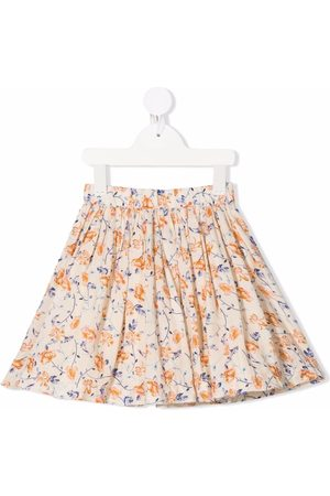 BONPOINT Girls Printed Skirts - Floral-print flared skirt - Neutrals