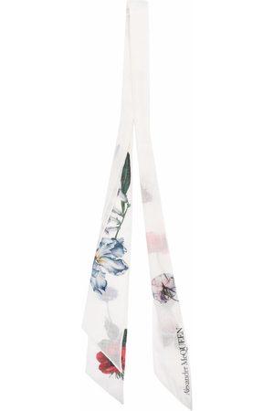 Alexander McQueen Women Scarves - Logo floral embroidered scarf