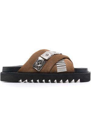 TOGA VIRILIS Men Sandals - Leather-strap embellished sandals - AJ1137 - KHAKI SUEDE
