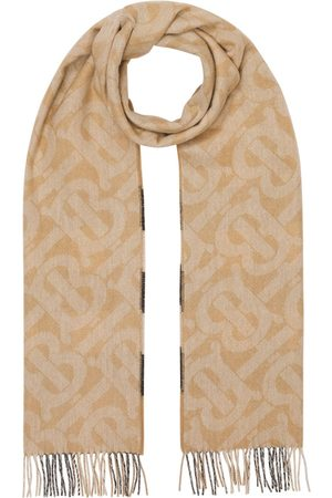 Burberry Scarves - Reversible check and monogram-print scarf - Neutrals