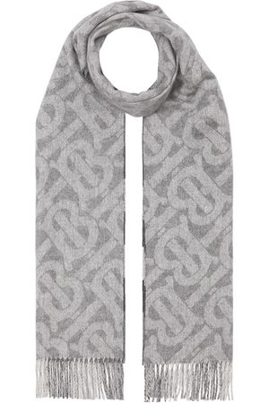 Burberry Reversible monogram-print and checked cashmere scarf - Grey