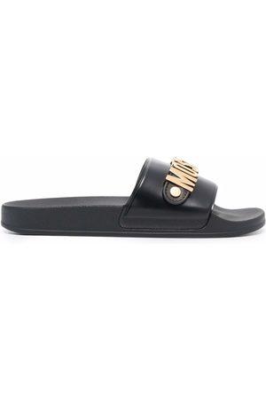 Moschino Men Sandals - Logo-plaque open-toe slides